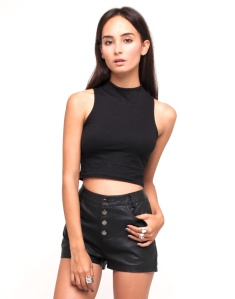 black cut off sleeve top