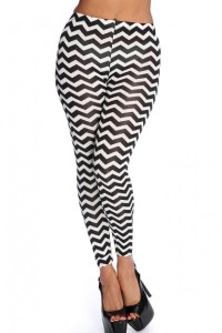 chevron leggings b&w