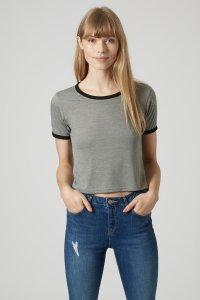 grey cropped tee top